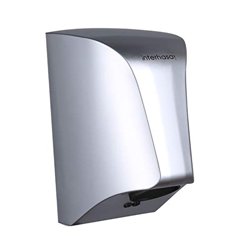 interhasa! Wall Mounted Hand Dryer,Commercial Bathroom Hand Dryer, Low Noise 50dB,Powerful 800W (Silver)
