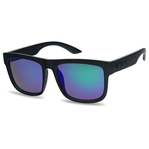 Crazy Horse Glasses Frames (Kush Classic Square Transparent Frame Sunglasses Mirrored Retro Sport Fashion Shades (Black Frame | Midnight)
