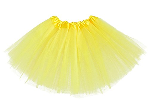 Tutu Skirts For Kids (Girls Classic Elastic 3 Layered Tutu Ballet Soft Tulle Costume Skirt (2 - 9 Years, Classic-Yellow))