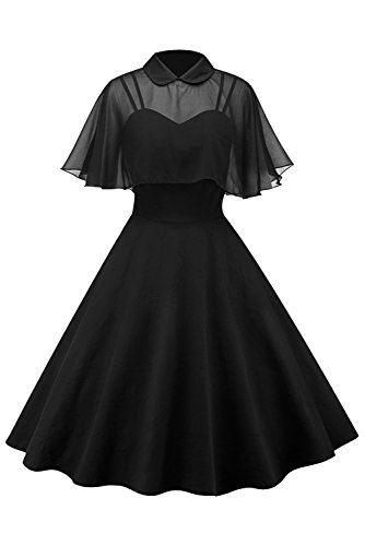 Sinastar Women's Solid Color Vintage Strappy Billowing Casual Dress with Voile ()