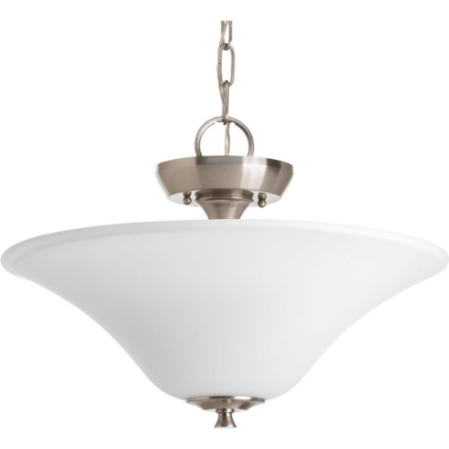 Progress Lighting P3440-09 2-Light CT Convertible Etched/Painted White Inside Glass (2 Light Convertible Bowl Pendant)