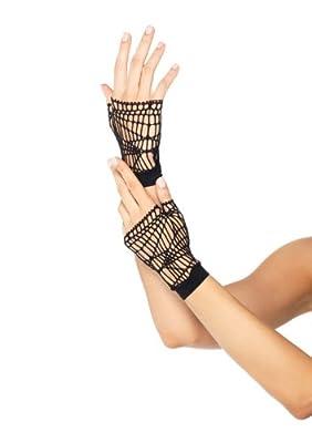 Leg Avenue Women's Distressed Net Fingerless Gloves