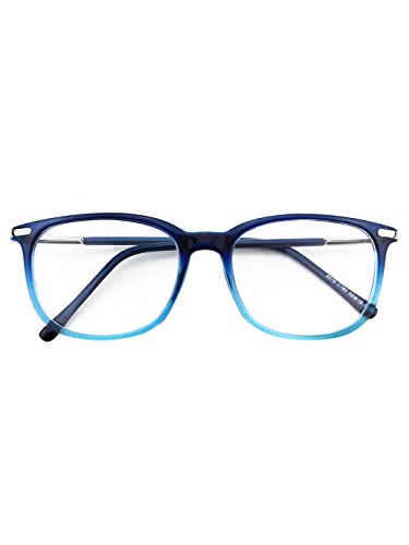 Happy Store CN79 High Fashion Metal Temple Horn Rimmed Clear Lens Eye - Eyeglasses Women For Blue