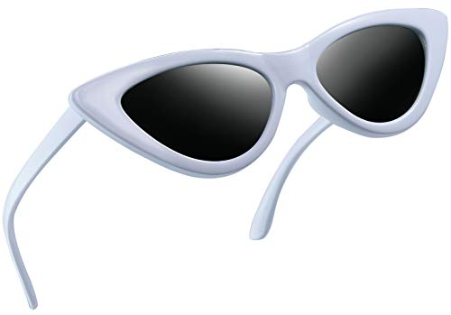 Joopin Vintage Polarized Cat Eye Sunglasses - Women Retro Cateye Sun Glasses Pointy Sunglasses E8908 (White ()