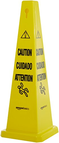 AmazonBasics Floor Safety Cone, 36-Inch - Caution, Multilingual - 6-Pack