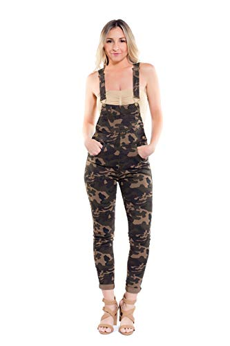 Instar Mode Women's Women's Solid Color Skinny Overalls Olive Camo XL (Camo Overalls)