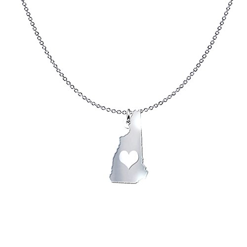 mmandiDESIGNS New Hampshire State Heart Pendant Necklace - Solid .925 Etched Sterling Silver Gift ()