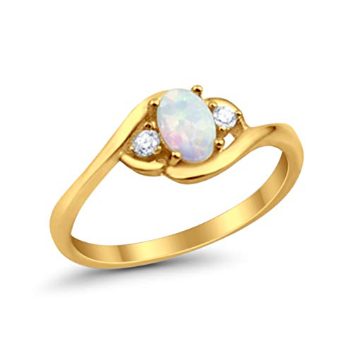 Wedding Engagement Ring Oval Cut LabWhite Opal Round CZ Yellow Tone Plated 925 Sterling Silver, Size-5