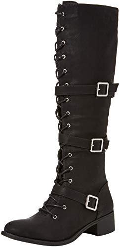 Freestyle A Lace Damen Schwarz Boots Up Joe Black Langschaftstiefel Strappy Browns qwEFn7H