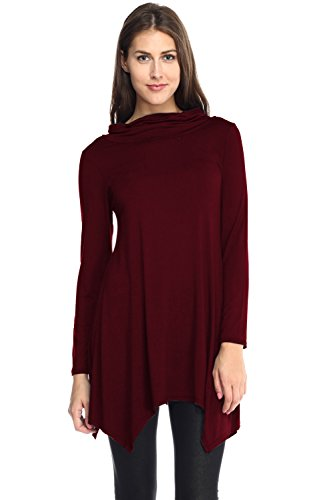 ViV Collection Solid Dressy Tunic Top with Loose Turtleneck **MADE IN USA** 31lIK7slfPL