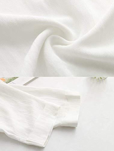 Estivi Lino Colore Magliette 3 Base Bianca Moda Ragazza 4 Vintage Tops Shirt Tshirts Puro Manica Basso Casual Sciolto Chic Alto Donna Shirts 67aqx5wI