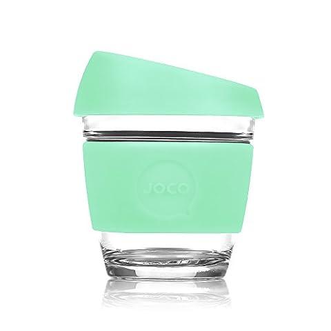 JOCO Glass Reusable 8oz Coffee Cup (Vintage Green) - 8 Ounce Cafe Mug