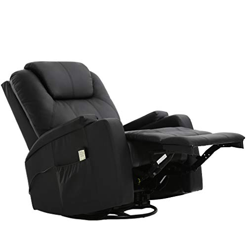 Recliner Chair Reclining Sofa Power Recliner PU Leather Electric Massage Chair with 360 Degree Swivel 2 Cup Holders Remote Control 6 Point Vibration Modes