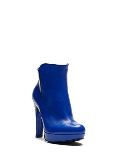 PoiLei Dana - bottines en cuir à talon haut épais - compensé avec bout rond bleu