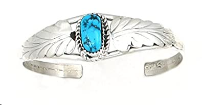 Rich Peel USA Made by Navajo Artist Ida McCray Sterling Silver Bracelet with Sleeping Beauty Turquoise