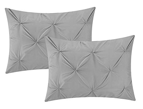 Cotton Metrics Linen Present Exclusive 100% Egyptian Cotton 600TC 2pc Pillow Shams Pinch Pleated Pintuck Decorative, Soft and Hypoallergenic (Standard (20 x 26 Inch), Silver Grey)