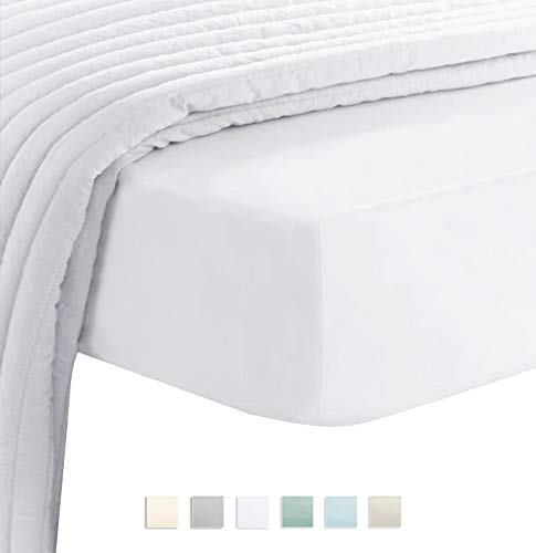 (Premium 400 Thread Count Cotton Queen Fitted Sheets White 1pc, 100% Long Staple Cotton Fitted Sheet, Soft Sateen Bed Fitted Sheets fit Upto 16