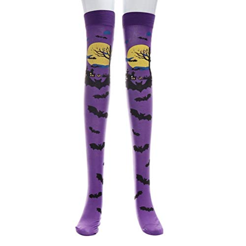Ganenn Bat Blood Over Knee High Stocking, Women's Halloween Printed Extra Long Tube Socks Fancy Dress Accessories Halloween Costume (Purple) -