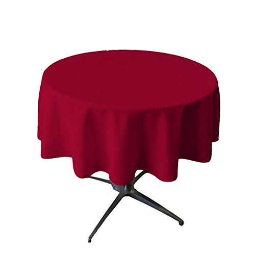 (BROWARD LINENS Tablecloth Polyester Round Seamless 54 Inch Cranberry)
