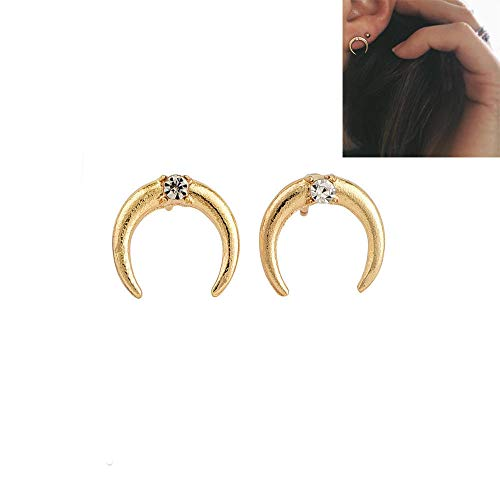 1Pair New Simple Party Punk Crystal Ear Stud Rhinestone Jewelry Moon -