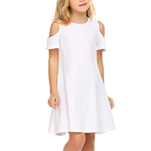 Best Epic Trends 31lIPlE2TYL._SS300_ Arshiner Girls Summer Dress Short Sleeve Cold Shoulder Solid Color Swing Casual Dresses with Pockets