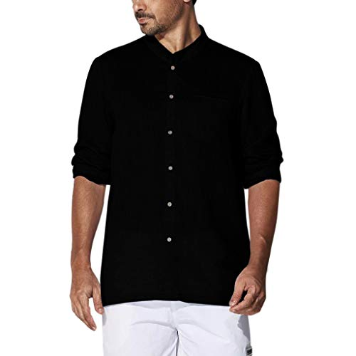 Forthery Men Linen Shirt for Men Summer Solid Long Sleeve Basic T Shirt Tops Stripe Slim Button Down Collar Shirts(Black,M=US M)