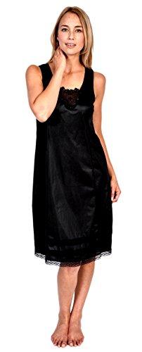 Womens Patricia Lingerie Plus Size Snip-it Lace Detail V-Neck Full Slip Black 2X