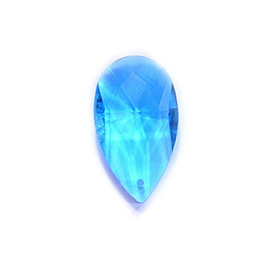 (10pcs Pear Shape Crystal Faceted Teardrop Pendants Loose Beads Jewelry 2213mm (Color - Lake Blue))
