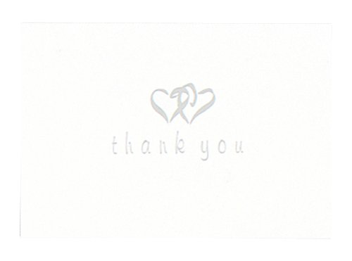 Hortense B. Hewitt Wedding Accessories Thank You Cards, Silver Linked Heart, 50 Count - Linked Heart Silver Thank You Cards