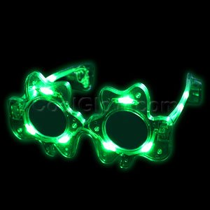 Price comparison product image Fun Central G732 LED Light Up Green Adult Shamrock Glasses