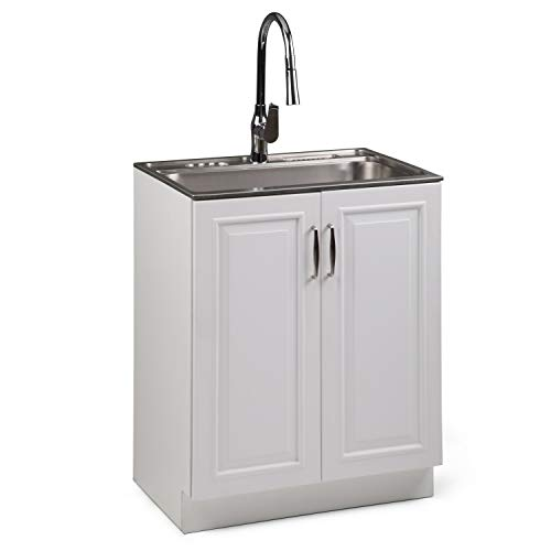 Simpli Home AXCLDYDAR-28 Darwin 28 inch Laundry Cabinet with Pull-Out Faucet and Stainless Steel Sink, White -