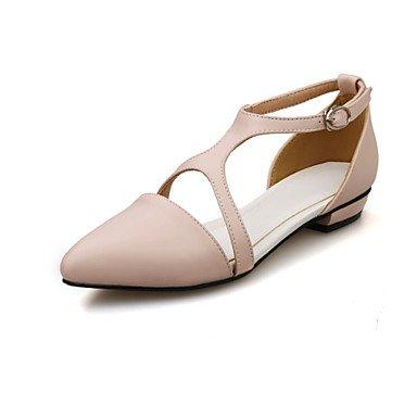 LFNLYX Tacones mujer Primavera Verano Otoño comodidad del Tobillo PU Office & Carrera atléticos casual bajo el talón negro Hebilla blanca rosada caminando Pink