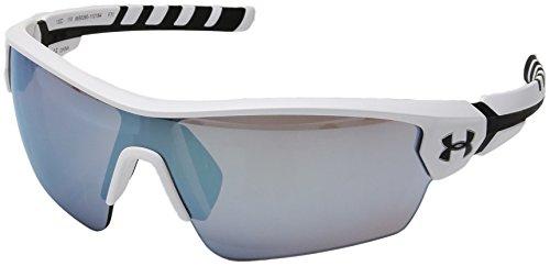 (Under Armour Wrap Sunglasses, UA RIVAL SATIN WHITE/BLACK FRAME/BASEBALL TUNED LENS, L/XL)