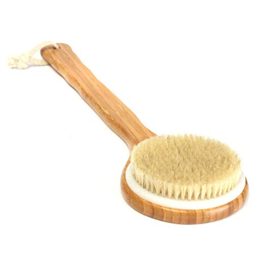 (Long Handle Wooden Bath Shower Body Back Brush Spa Scrubber Exfoliating)