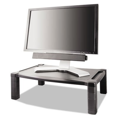 Kantek Adjustable Monitor - Wide Two-Level Stand, Height-Adjustable, 20 x 13 1/4, Black, Sold as 1 Each