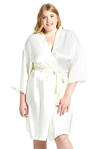 Jovannie Women's Satin 3/4 Sleeve Plus Size Kimono Robe with Matching Sash Regular/Long Length (Ivory, 4X Plus)