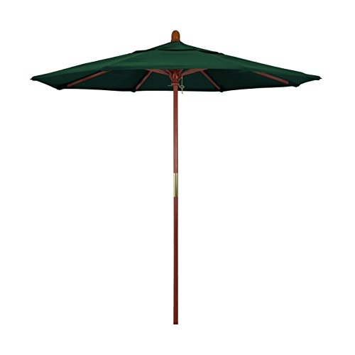 (California Umbrella 7.5' Round Hardwood Frame Market Umbrella, Stainless Steel Hardware, Push Open, Olefin Hunter)