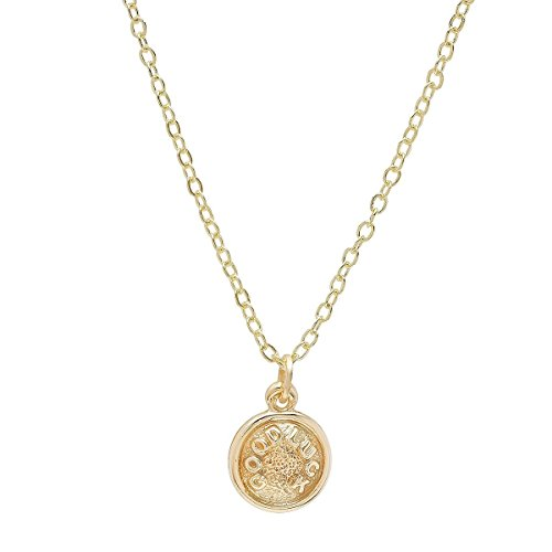 - Pori Jewelers 14K Yellow Gold Small Circle Disc Sayings Pendant-14K Gold DC Cable Chain (Good Luck)