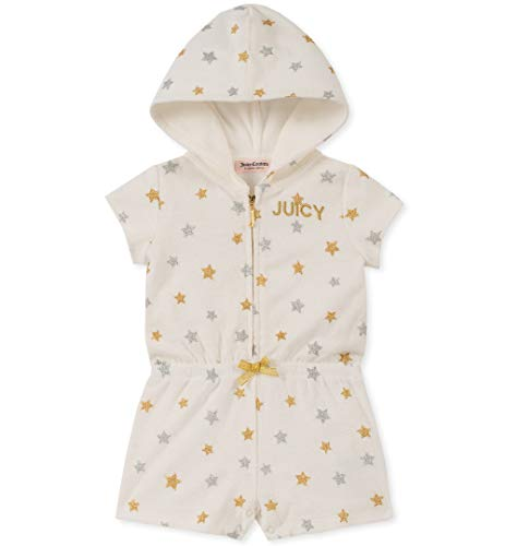 (Juicy Couture Girls' Little Hooded Romper, Silent Vanilla/Gold/Silver 4)