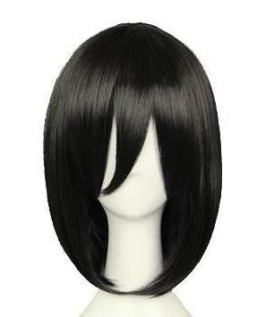 Mikasa Wig Cosplay Black Short Hair Costume Accessories Props Halloween Honor (Halloween Costume 1012)