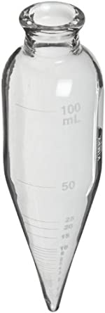 """Kimax 45243-100 Glass 100mL Oil Short Cone Centrifuge Tube for Petroleum Field Testing, Calibrated 'To Contain', 6"""" Length, Clear, Pack of 6"""