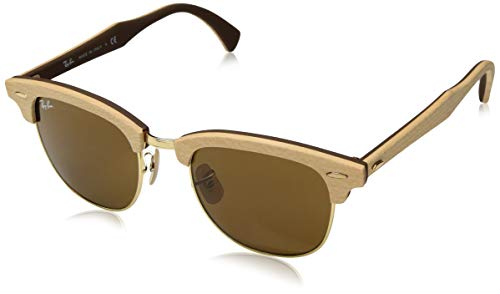 Ray-Ban RB3016M Clubmaster Wood Square Sunglasses, MAPLE RUBBER BROWN, 51 mm ()