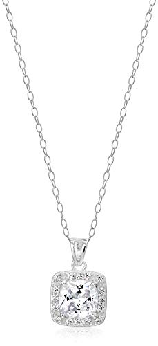 Amazon Essentials Sterling Silver Cubic Zirconia Princess Halo Pendant ()