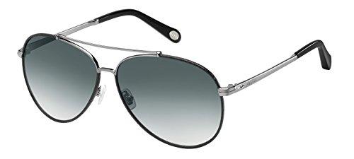 Fossil Fos2000ls Aviator Sunglasses, Dark Ruthenium/Gray Gradient, 60 ()