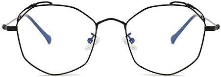 LIUYALE Polygon Metall Galsses Schutz der Augen Leicht stark und robust Rahmen Anti-Ermüdung der Augen High Density Blu-ray Flachglas Galsses Brillenfassungen (Color : Black)