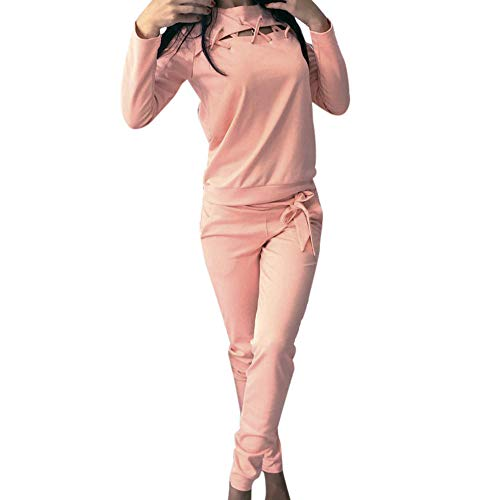 (Clearance!Dressin_Women's Round Neck Sleeve Trousers Sport Two Pieces Set)