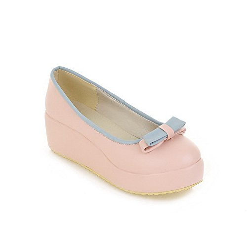 Shoes BalaMasa Two Platform Pink Bows Pumps Toned Womens Urethane zx0qa