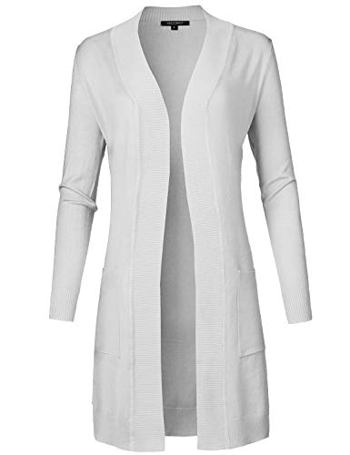 Solid Soft Stretch Long-line Long Sleeve Open Front Knit Cardigan White M