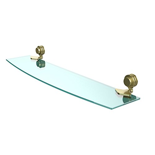Allied Brass 433D/24-SBR Venus Collection 24 Inch Glass Shelf with Dotted Accents 24-Inch by 5-Inch Satin Brass ()