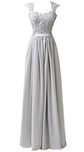 RohmBridal Women's Double Straps Lace Appliqued Bridesmaid Dress Grey 6